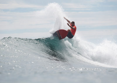Anthony Petruso with a powerful snap in the Billabong SurfAid Cup in Malibu.