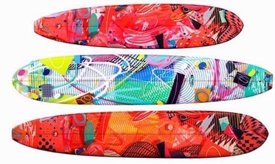 Michael Gallagheräó»s surfboards. He lives in Newport Beach.