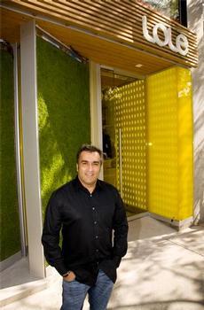 Bernard Mariette in front of a Lole store.