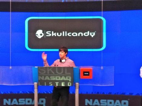 Skullcandy CEO Jeremy Andrus at the Nasdaq closing bell ceremony today.