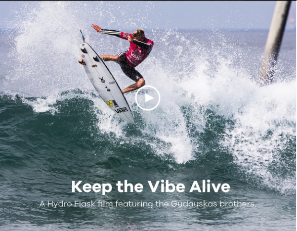 Hydro Flask Keep The Vibe Alive screen cap. Video link below.