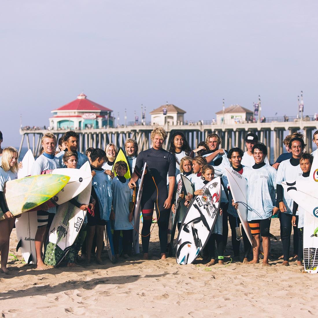 John John surfed at the Huntington Beach Pier