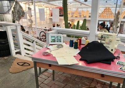 Seea Swim set up a sewing station as part of its pop-up experience.