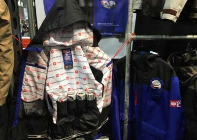 686 has a fun collab with Pabst Blue Ribbon that includes insulated cooler-pack front pockets and can holders inside.