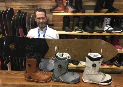 K2 Global Brand Director Hunter Waldron with the brand's best-selling boots and new all-terrain board.