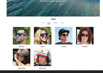 The team athlete page on the new website. Photo courtesy of SPY.