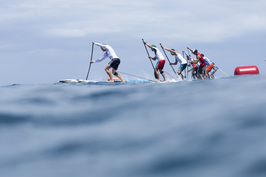 SUP racers take off from the start line at the Technical Race of the 2016 ISA World SUP and Paddleboard Championship in Fiji. In 2017