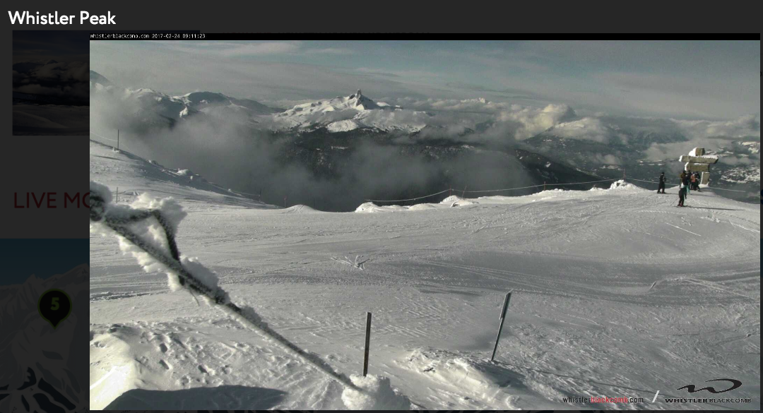 The view from atop Whistler Peak on February 24. Photo courtesy Whistler Blackcomb.