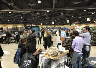 Toms had a popular coffee bar in front of its booth