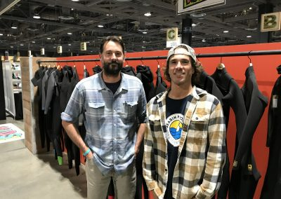 Zach Hartley and Jason McCaffrey of Patagonia. Patagonia employees are back working at company headquarters in Ventura. Because of the fires