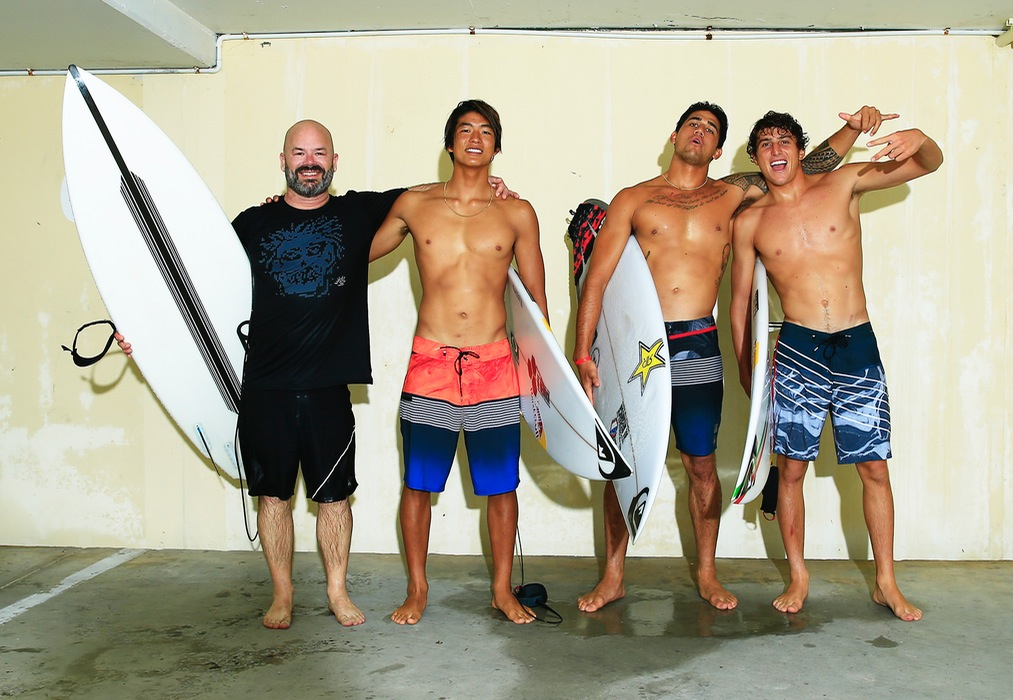 Quiksilver's Garry Wall with team riders Kanoa Igarashi