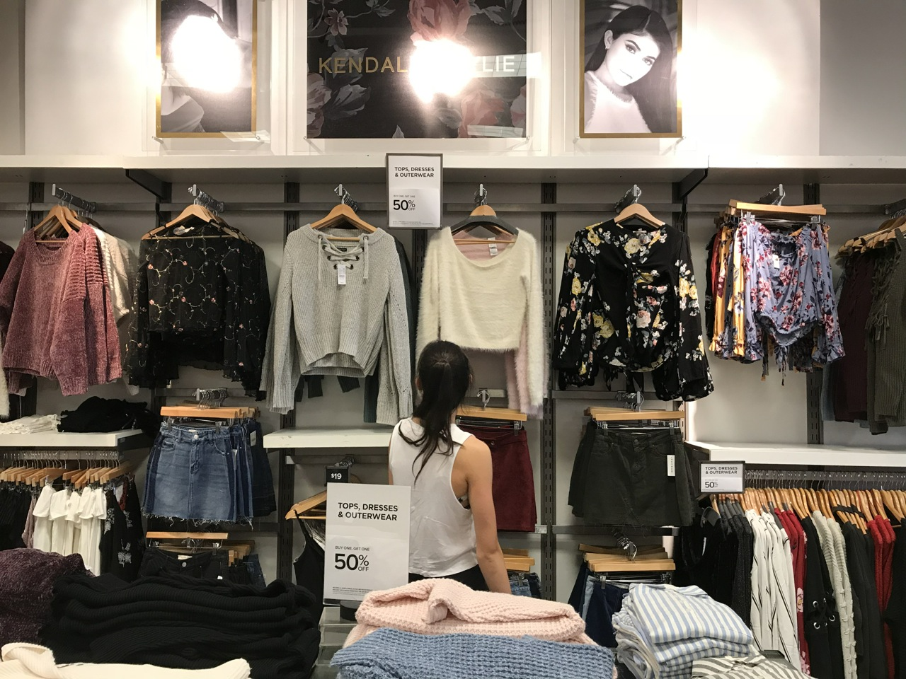 The Kendall and Kylie section on sale at PacSun