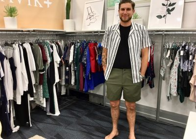Tavik showcased their men's collection which features a pool short that is reactive to water. The short develops a rain splatter pattern when it gets wet.