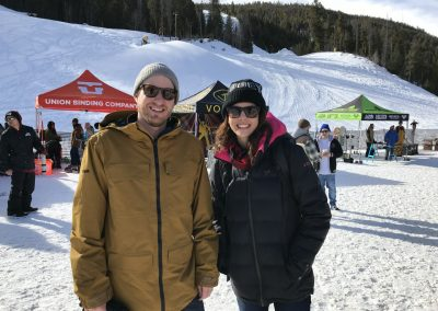 Zumiez's Buying Directors Jon Folk and Melissa George at the snow demo
