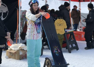 No. 1 Kelly Sanders playing a game at the snow demo.