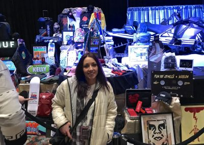 No. 1 Kelly Sanders in front of just some of the many prizes she won.