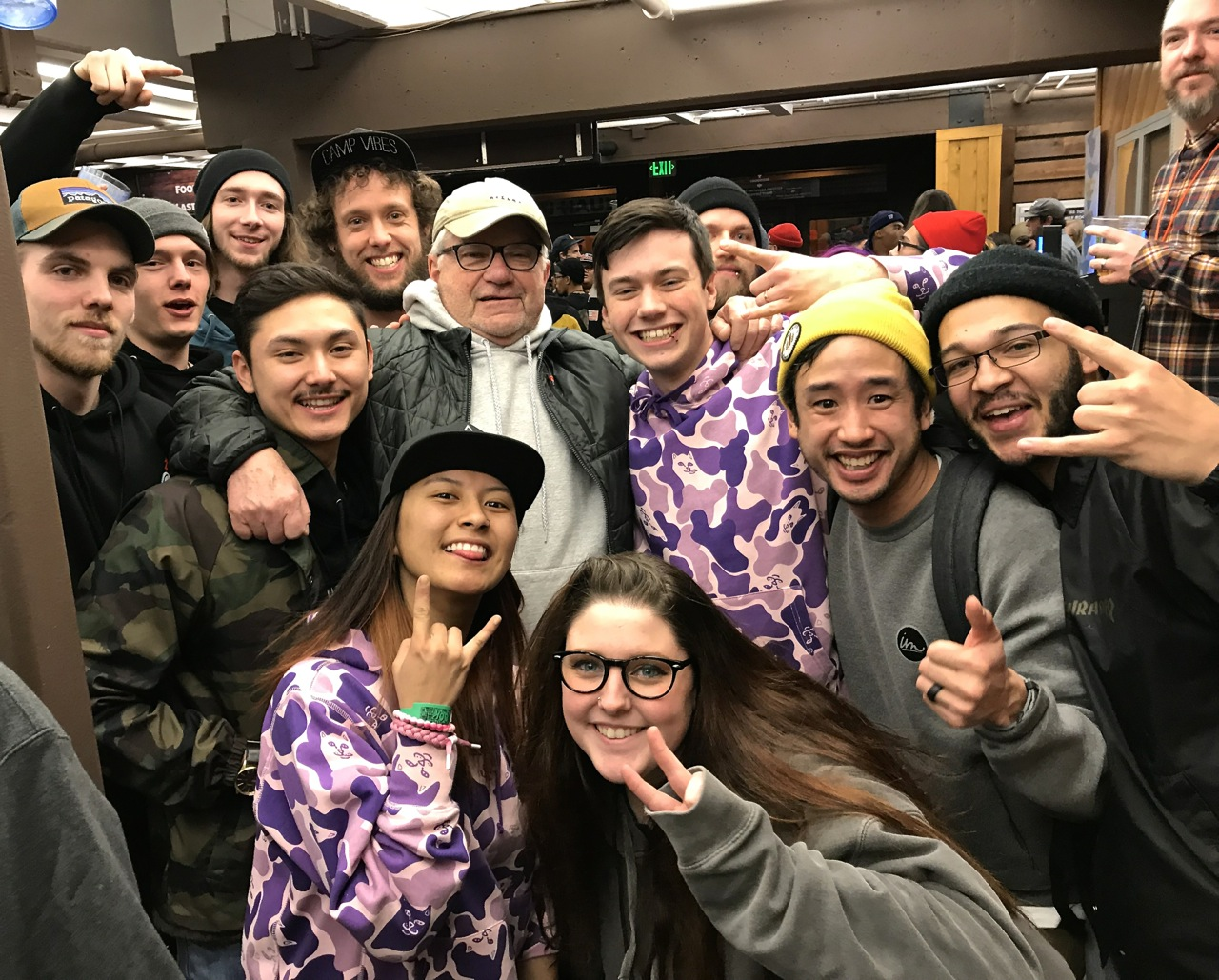 "Zumiez Founder Tom Campion with high-performing Zumiez's sales ""kids"" at the 100k recognition event in Colorado  - Photo by SES"