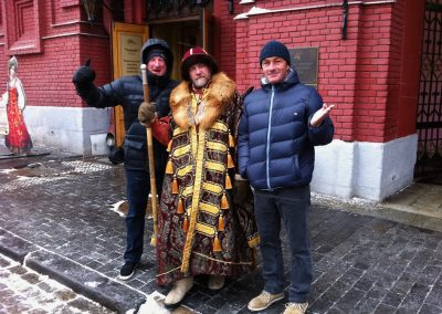 Bob McKnight and Pierre Agnes in Red Square during a trip to Russia - Photo courtesy of Bob McKnight