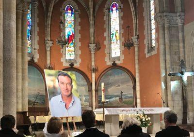 The service was held at Eglise Saint Nicolas in Capbreton
