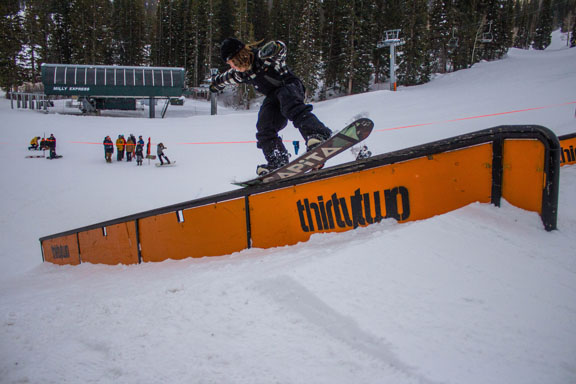 ThirtyTwo AM Joey Fava pressing through the rail jam Photos: Will Sanders