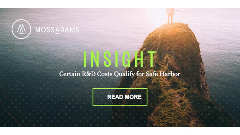 R&D Credit Safe Harbor Opportunity